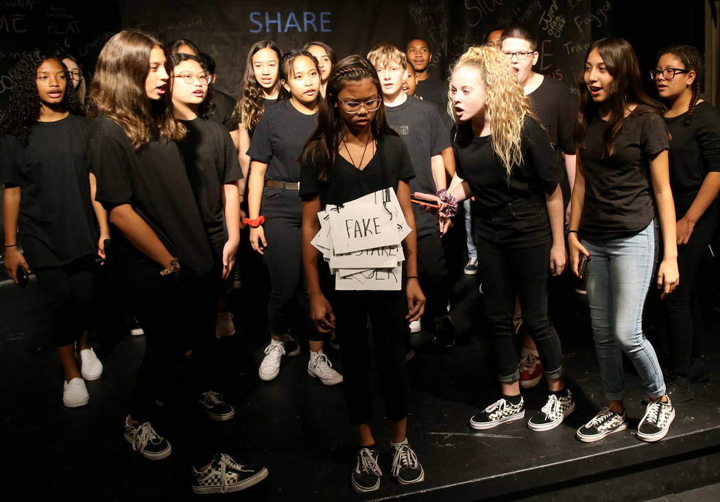 Eighth grade students during a rehearsal for an anti-bullying play called ÒThe Weight of Y ...