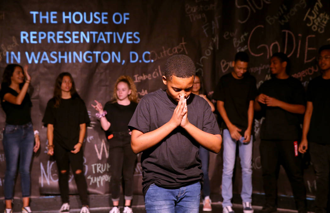 Eighth grader Zai Blanco during a rehearsal for an anti-bullying play called ÒThe Weight o ...