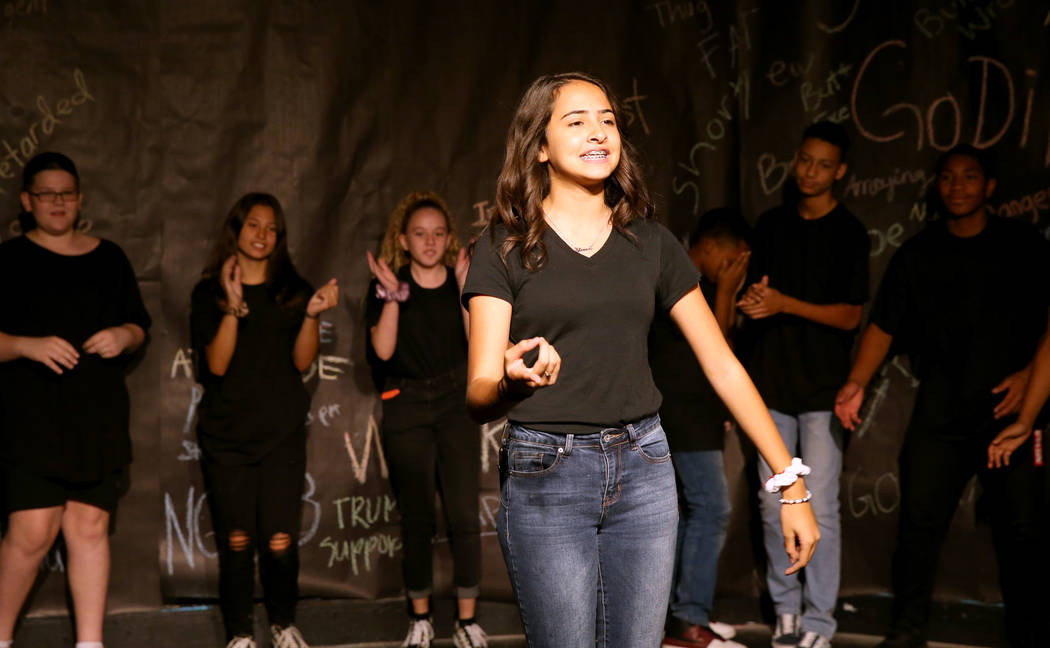 Eighth grade student Kameela Ben Rhouma during a rehearsal for an anti-bullying play called &#x ...