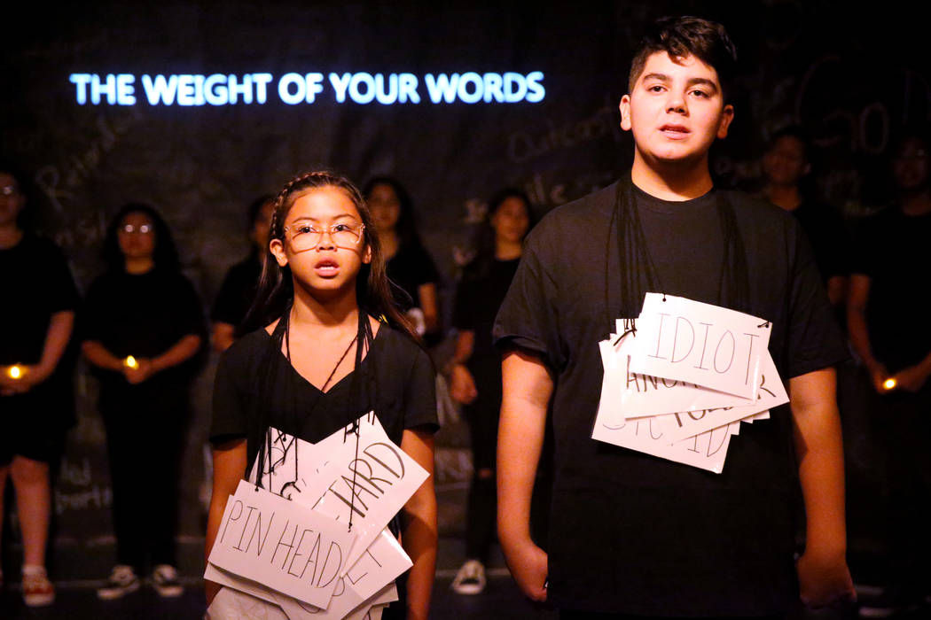 Eighth grade students Cherish Chang and Khalid Mustafa during a rehearsal for an anti-bullying ...
