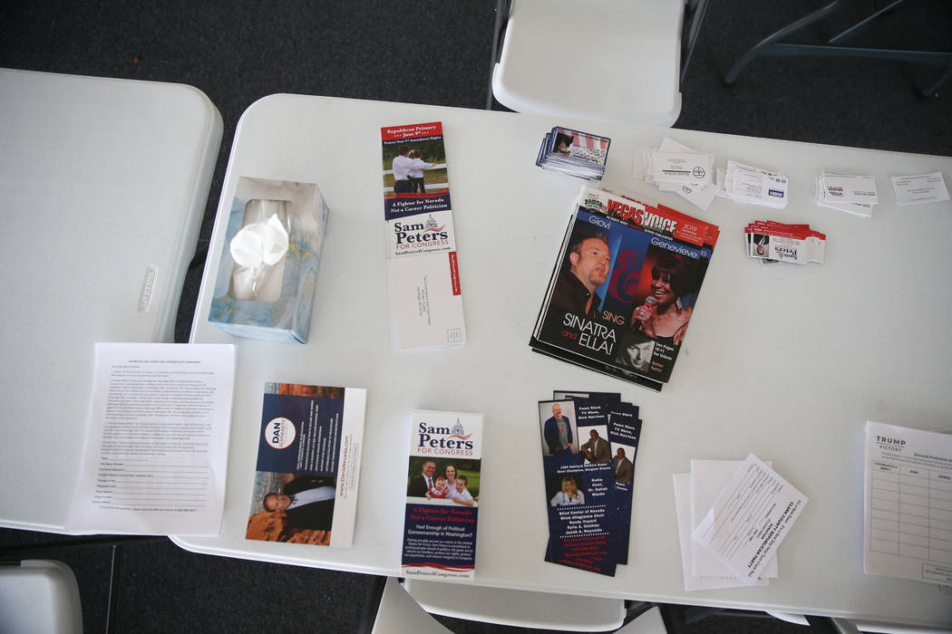 Pamphlets inside the Clark County Republican Party headquarters in Las Vegas after a break-in e ...
