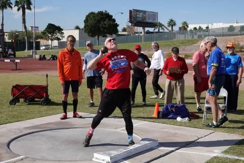 Gary Wuest of Sacramento, California, participates Oct. 11 in a Nevada Senior Games track and f ...