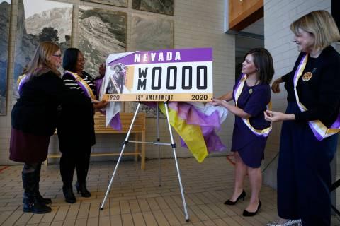 From left, Nevada Assemblywomen Maggie Carlton, Danielle Monroe-Moreno, Teresa Benitez-Thompson ...