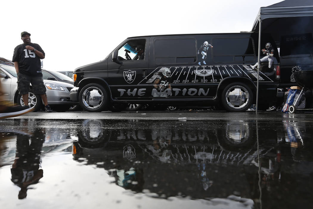 Fans tailgate at RingCentral Coliseum before an NFL football game between the Oakland Raiders a ...