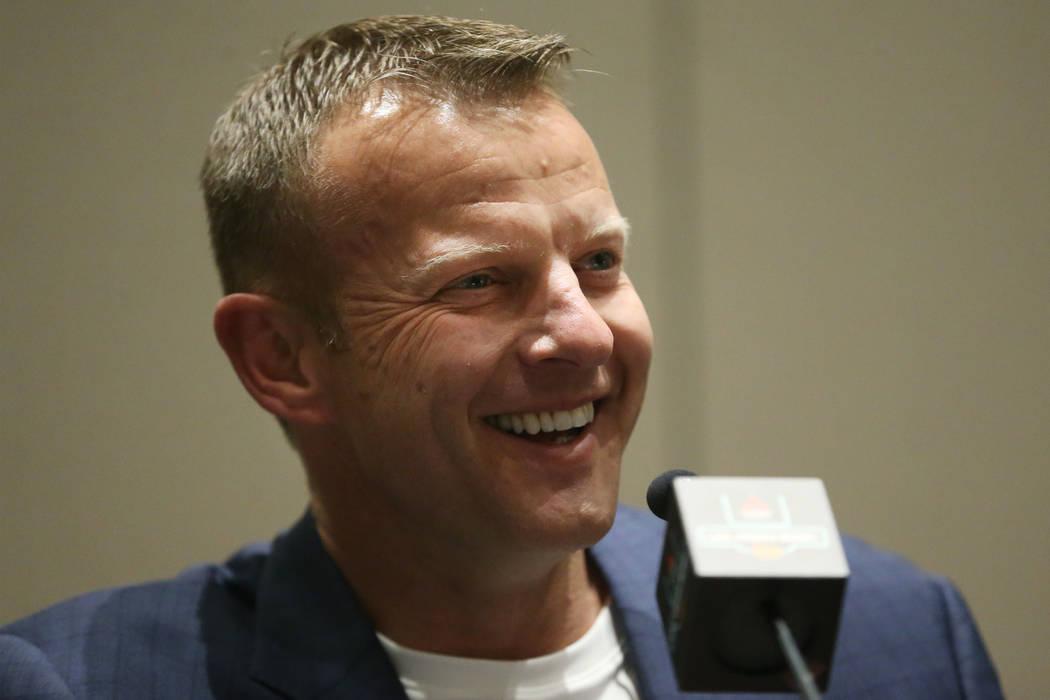 Boise State Broncos head coach Bryan Harsin participates during a Las Vegas Bowl press conferen ...