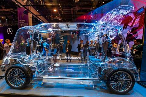 A clear vehicle featuring the L2+ Semi-Automated Driving system on display in North Hall for CE ...