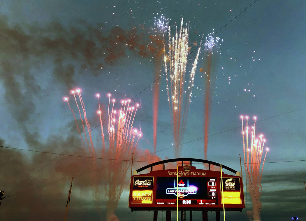 Fireworks welcome all to the Las Vegas Bowl football game with the Washington Huskies versus Bo ...