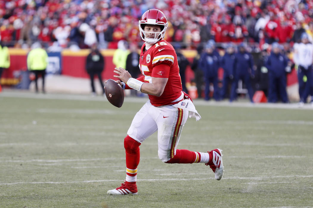 Kansas City Chiefs quarterback Patrick Mahomes (15) during the second half of the NFL AFC Champ ...