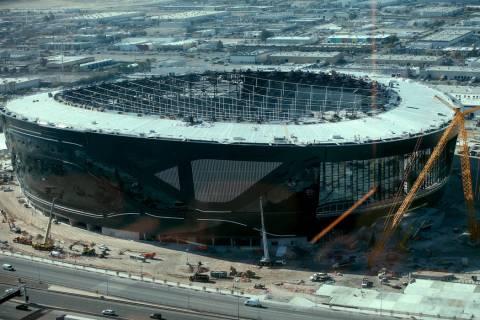 Allegiant Stadium, home of the Las Vegas Raiders, as seen from Rivea restaurant at Delano in La ...