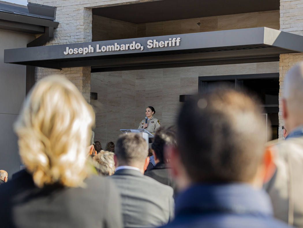 Summerlin Area Command Capt. Sasha Larkin speaks during the official grand opening of the comma ...
