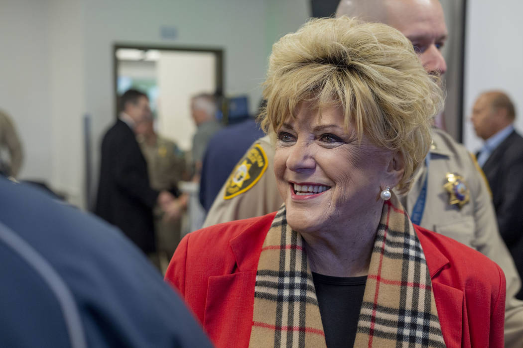 Las Vegas Mayor Carolyn Goodman greets members of the community during the official opening cer ...