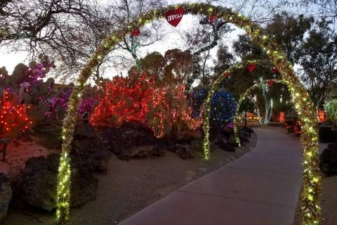 "Ethel M cactus garden's ""Lights of Love"" display is seen at sunset. (Natalie Burt)"
