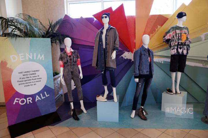 The Denim Vignette Trend Display is seen at the MAGIC fashion trade show at the Mandalay Bay co ...
