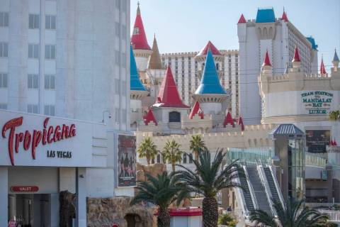 Tropicana is seen on the Strip with Excalibur in the background on Wednesday, Feb. 19, 2020, in ...