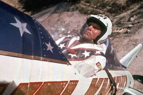 Evel Knievel is shown in his rocket before his failed attempt at a highly promoted 3/4-mile lea ...