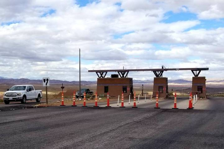 Cones were set up Tuesday in front of the Lake Mead Drive entrance to Lake Mead National Recrea ...