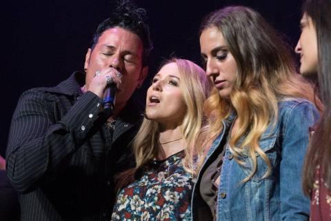 Bryan Hopkins of Elvis Monroe, Jewel and Nicole Ruffino are shown at The Venetian Theatre durin ...