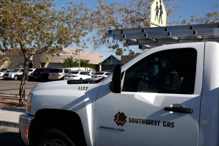 A Southwest Gas truck is seen on Friday, Aug. 17, 2018, in North Las Vegas. (Bizuayehu Tesfaye/ ...