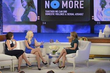 Former New Mexico kicker Katie Hnida, center, is an advocate for sexual-assault victims. Photo ...