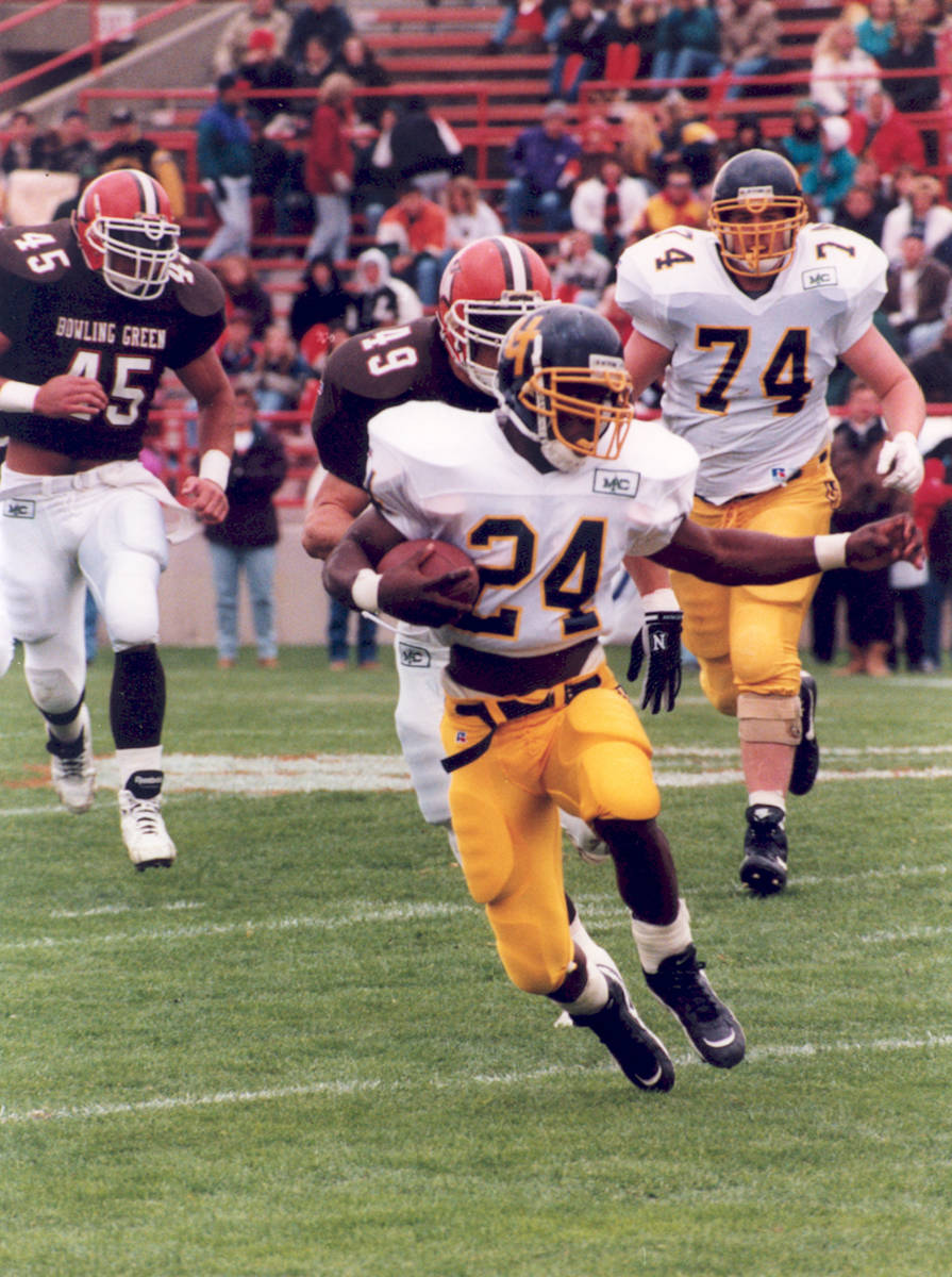 Wasean Tait set Mid-American Conference rushing records in 1995. Photo courtesy of University o ...