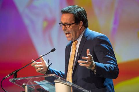Base Agency Chief Executive officer Ken Henderson is shown onstage during Robin Leach's celebra ...