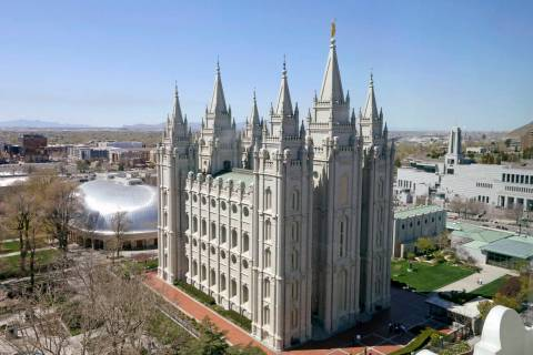 FILE - In this April 18, 2019, file photo, the Salt Lake Temple in Salt Lake City is viewed. Th ...