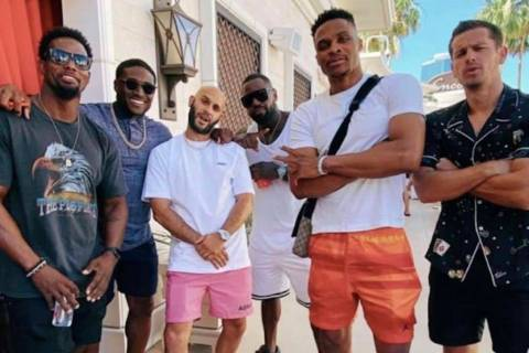 Russell Westbrook, second from right, is shown at Encore Beach Club at Wynn Las Vegas with Jai ...