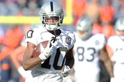 Oakland Raiders wide receiver Rico Gafford (10) catches the football during a drill prior an NF ...