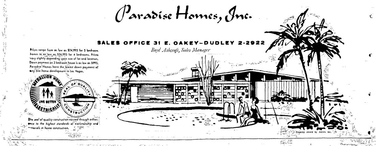 An ad for Las Vegas' Paradise Palms community, printed in the May 17, 1960, edition of the Las ...