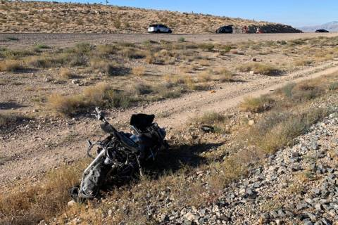 A motorcyclist was killed Sunday, Aug. 2, 2020, near Sloan. (Nevada Highway Patrol)