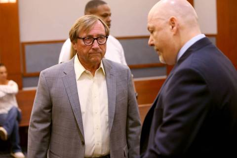 Retired Las Vegas Convention and Visitors Authority CEO Rossi Ralenkotter, left, and his attorn ...