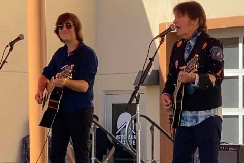 John Fogerty and his son Shane at Veterans Village No. 2 on Monday, Nov. 10, 2019. (John Katsil ...