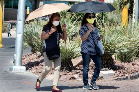 A high of 101 degrees is forecast for the Las Vegas Valley on Thursday, Aug. 6, 2020, according ...