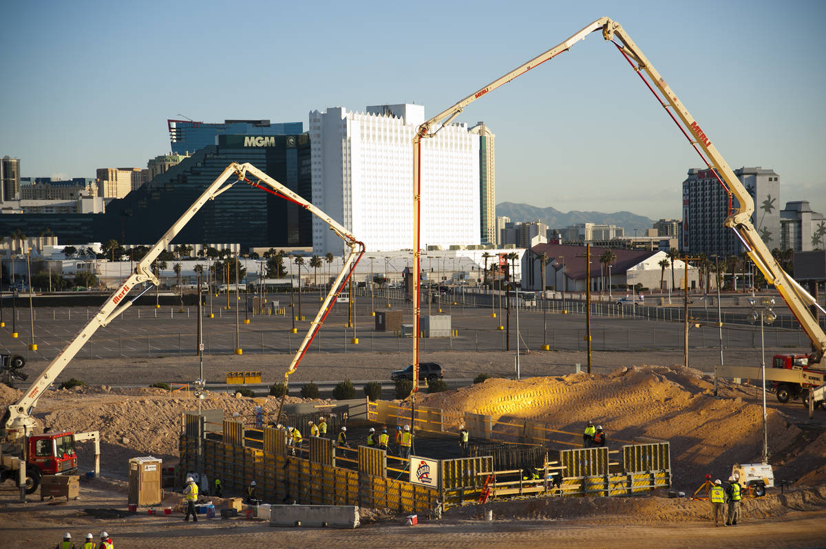 Construction begins as the foundation is poured for the SkyVue observation wheel on the Strip a ...