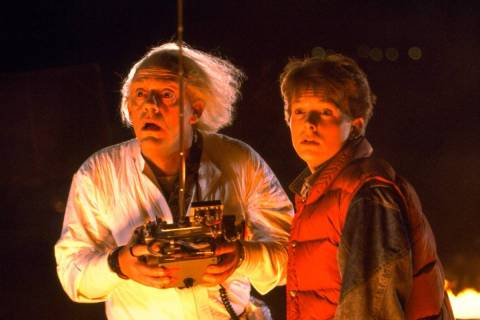 "Christopher Lloyd, left, and Michael J. Fox star in ""Back to the Future."" (Universal)"