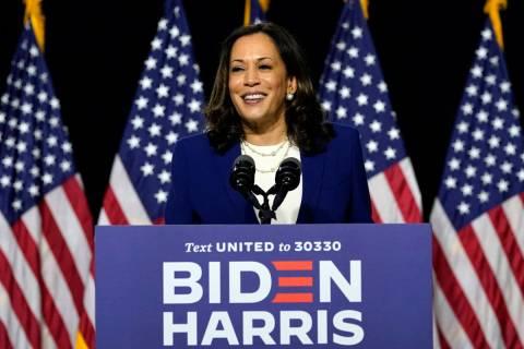 Sen. Kamala Harris, D-Calif., speaks after Democratic presidential candidate former Vice Presid ...