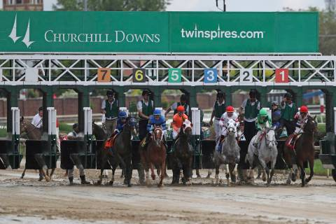 Horses break from the starting gate at Churchill Downs Thursday, May 2, 2019, in Louisville, Ky ...
