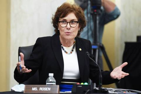 In a June10, 2020, file photo, Sen. Jacky Rosen, D-Nev., speaks during a Senate Small Business ...