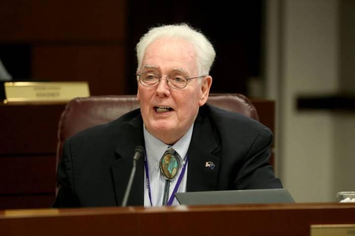Assemblyman John Hambrick, R-Las Vegas, asks a question during an Education Committee meeting i ...