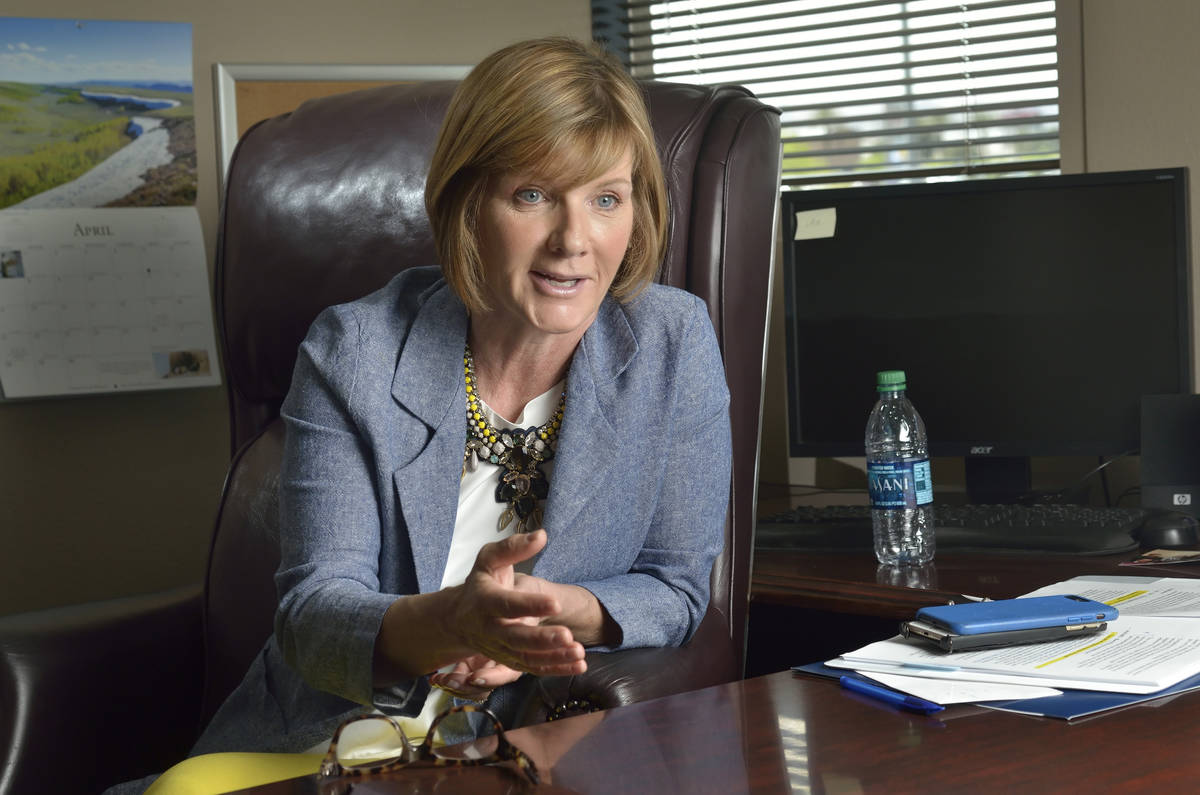 Rep. Susie Lee, D-Nev., talks during an interview in her Las Vegas office in April 2019. (Las V ...