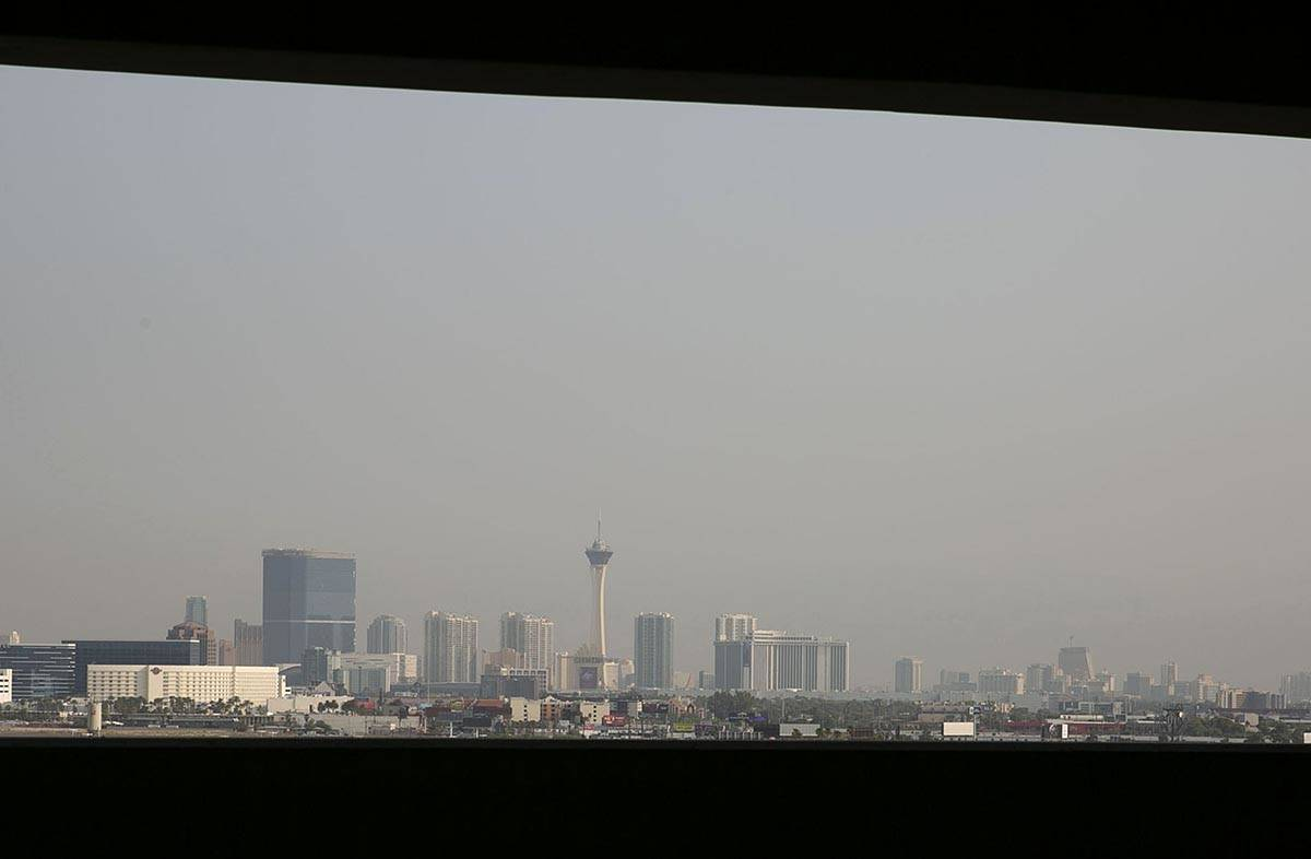 A haze hangs over the Strip on Friday, Aug. 21, 2020, in Las Vegas. Because of wildfires all ov ...