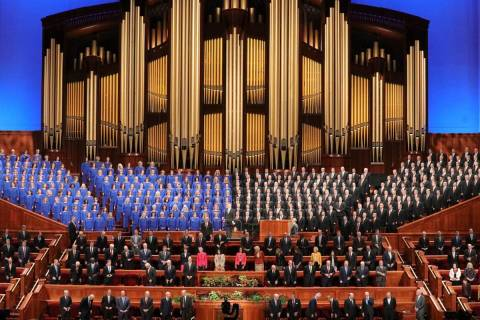 The Tabernacle Choir at Temple Square performs during The Church of Jesus Christ of Latter-day ...
