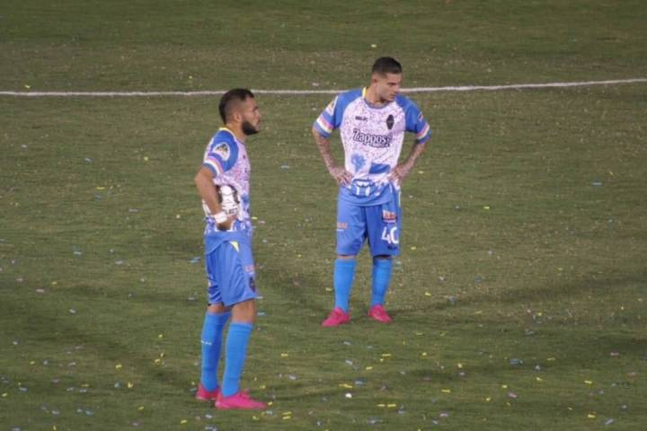 Las Vegas Lights midfielders Bryan de la Fuente (front) and Raul Mendiola (back) pause during t ...