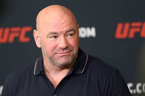 UFC president Dana White listens to questions during a press conference at the UFC Apex in Las ...