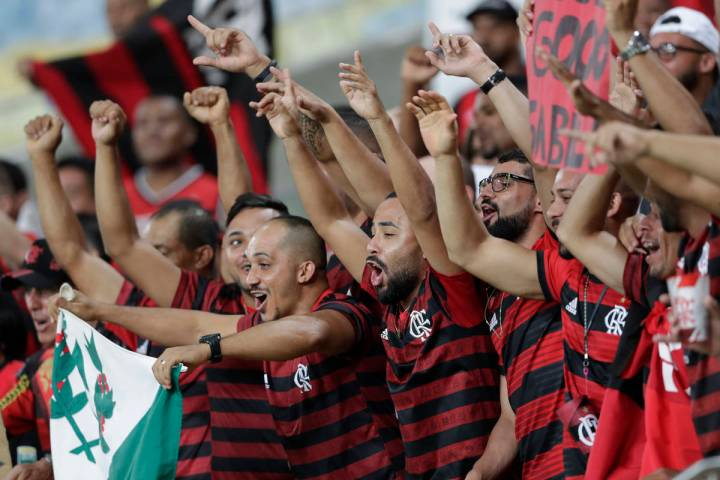 Fans of Brazil's Flamengo cheer before a Copa Libertadores soccer match against Ecuador's Barce ...
