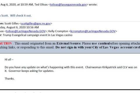 Scott Gilles, senior advisor to Gov. Steve Sisolak, told Las Vegas officials that the governor ...
