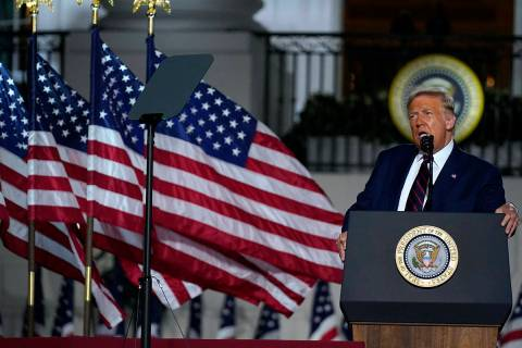 President Donald Trump speaks from the South Lawn of the White House on the fourth day of the R ...