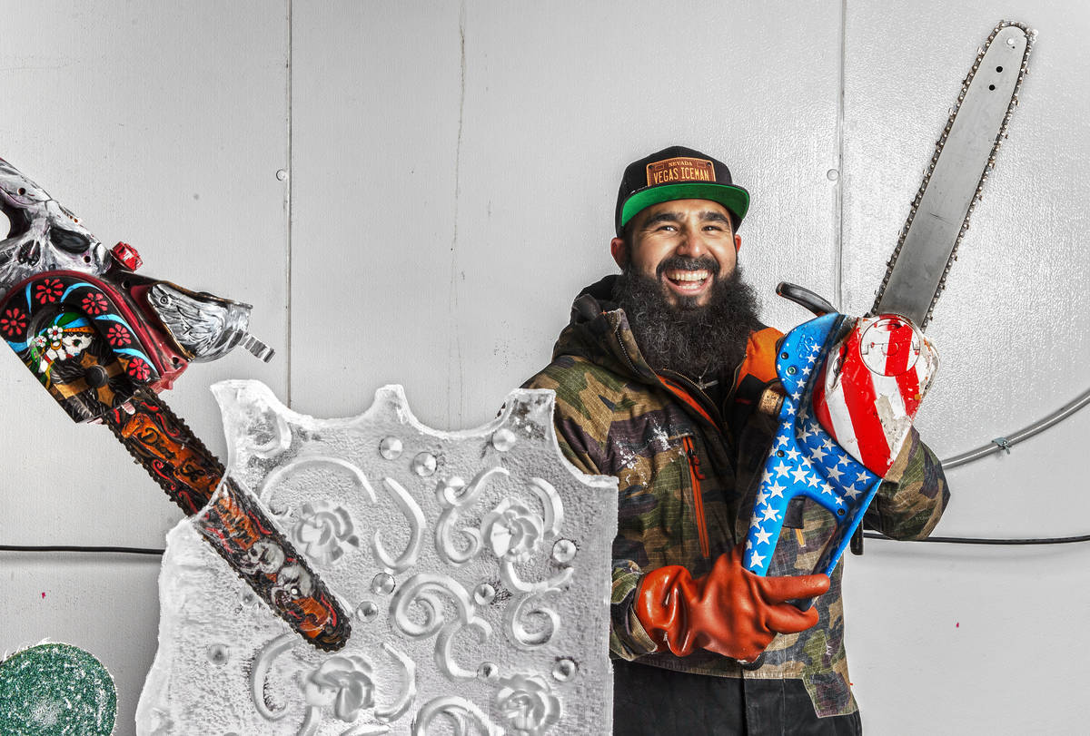 "Marco Villarreal, known as ""Vegas Ice Man,"" holds a custom painted chainsaw he uses t ..."