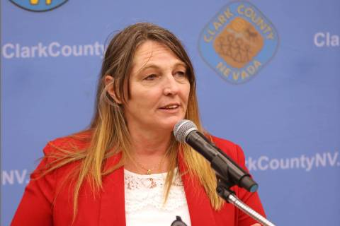 In this July 21, 2020, file photo, Clark County Commission Chairwoman Marilyn Kirkpatrick speak ...