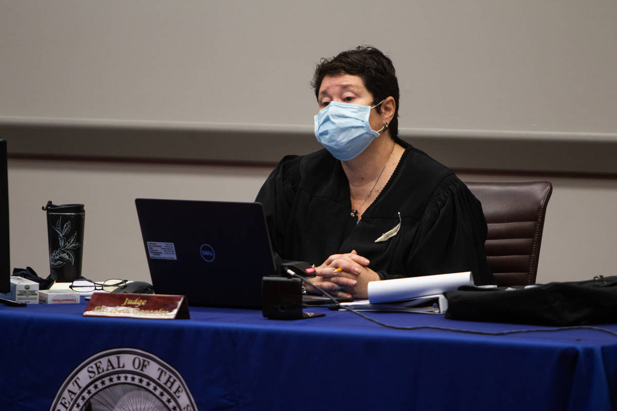 Judge Elizabeth Gonzalez listens to opening statements during the marijuana dispensaries licens ...